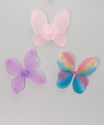 Purple, Pink & Rainbow Fairy Wings Set