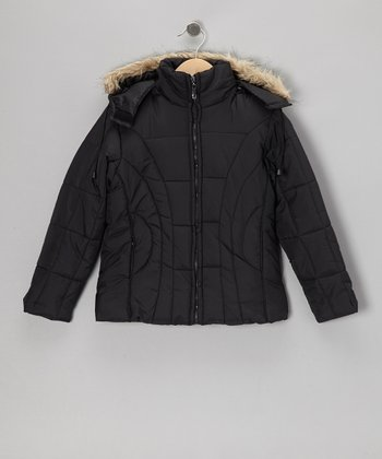 Black Long Hooded Jacket - Girls