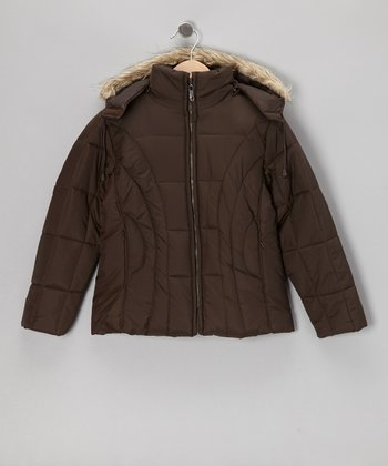 Brown Long Hooded Jacket - Girls