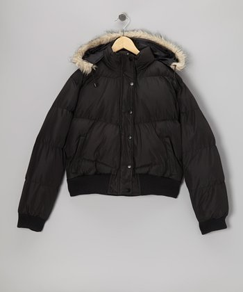 Black Down Hooded Jacket - Girls