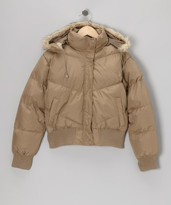 Khaki Down Hooded Jacket - Girls