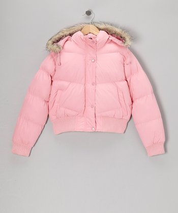 Pink Down Hooded Jacket - Girls