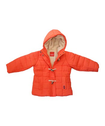 Orange Sherpa Hooded Puffer Coat - Toddler & Girls