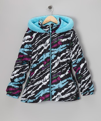 Black Splatter Puffer Coat - Toddler & Girls