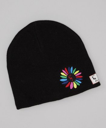 Black & Rainbow Embroidered Flower Beanie