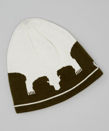 Green & White Polar Bear Beanie