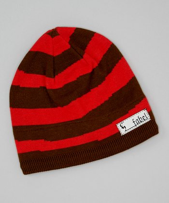 Brown & Orange Stripe Stocking Beanie