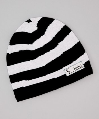 Black & White Stripe Stocking Beanie