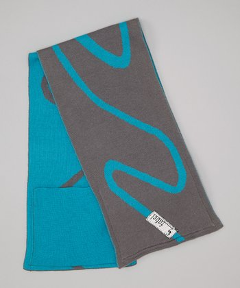 Aqua & Gray Swirl Pocket Scarf