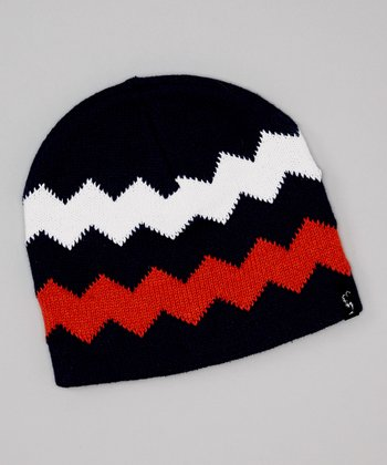 Navy & Orange Zigzag Beanie