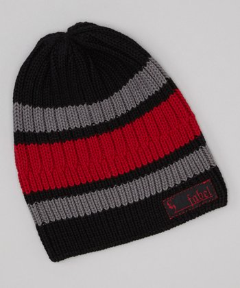 Black & Red Stripe Knit Beanie