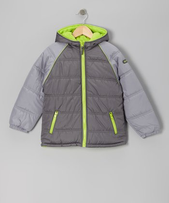 Charcoal & Lime Puffer Coat - Boys