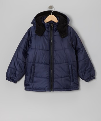 Navy Puffer Coat - Boys