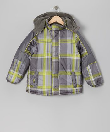 Charcoal & Lime Plaid Puffer Coat - Boys