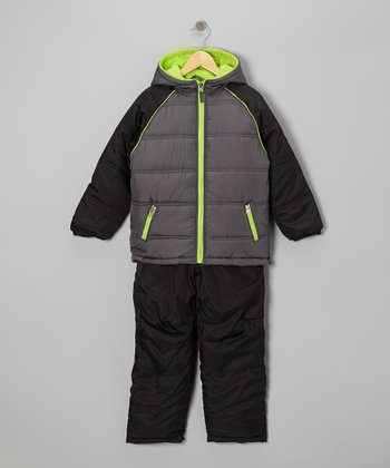 Black & Lime Puffer Coat & Pants - Boys