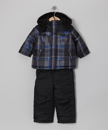 Black Plaid Puffer Coat & Overalls - Infant