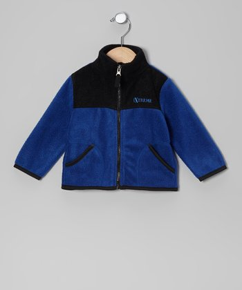 Royal Blue & Black Fleece Zip-Up Jacket - Infant