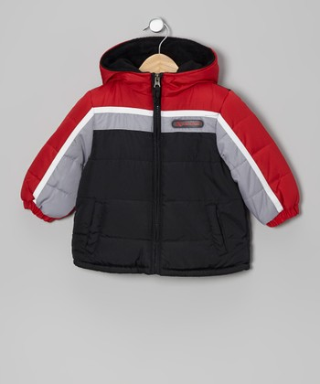 Red & White Puffer Coat - Infant