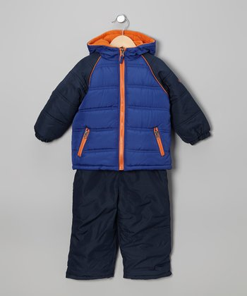 Navy & Orange Puffer Coat & Bib Pants - Toddler