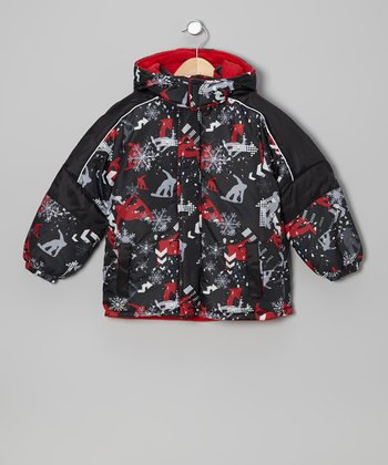 Red & Black Winter Scene Jacket - Boys