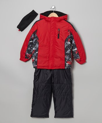 Red Puffer Jacket Set - Boys