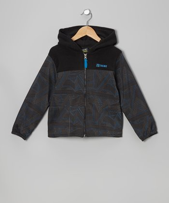 Blue & Black Abstract Jacket - Boys