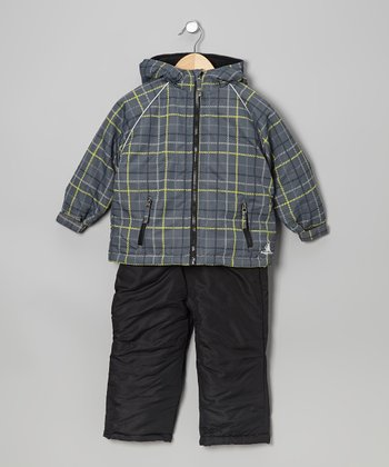 Charcoal & White Plaid Jacket & Pants - Toddler & Boys