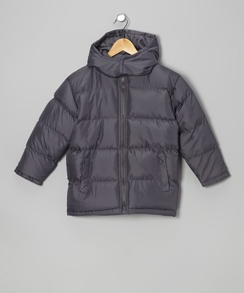 Medium Gray Puffer Jacket - Boys
