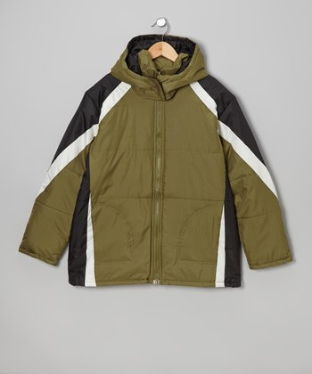 Olive & White Stripe Jacket - Boys