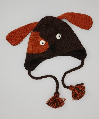 Brown Puppy Earflap Wool Beanie