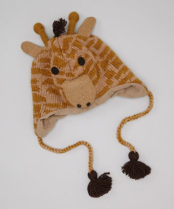 Brown Giraffe Earflap Wool Beanie