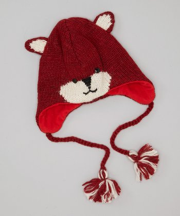 Red Fox Earflap Wool Beanie