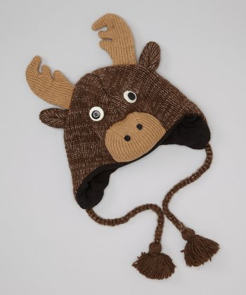 Brown Deer Earflap Wool Beanie