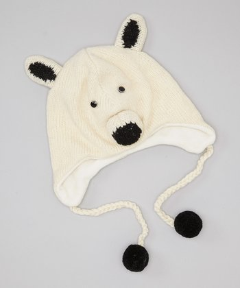 White Polar Bear Earflap Wool Beanie
