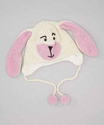 White Rabbit Earflap Wool Beanie