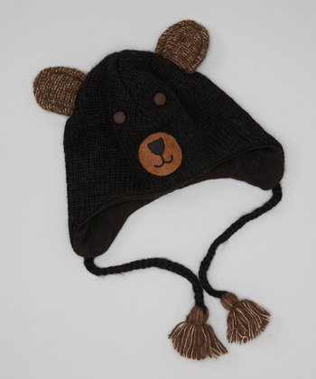 Black Bear Earflap Wool Beanie