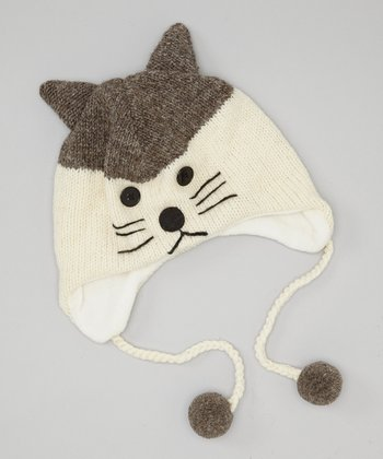 Gray Cat Earflap Wool Beanie