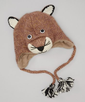 Brown Mountain Lion Earflap Wool Beanie