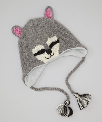 Gray Raccoon Earflap Wool Beanie