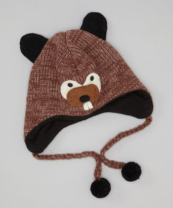 Brown Beaver Earflap Wool Beanie