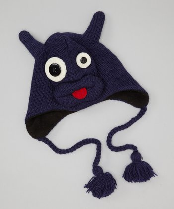 Blue Freddy Monster Earflap Wool Beanie