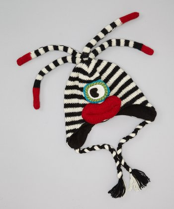 Black & White Stripe Lenny Monster Earflap Wool Beanie