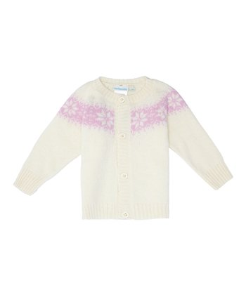 Cream Fair Isle Wool-Blend Cardigan - Infant, Toddler & Girls