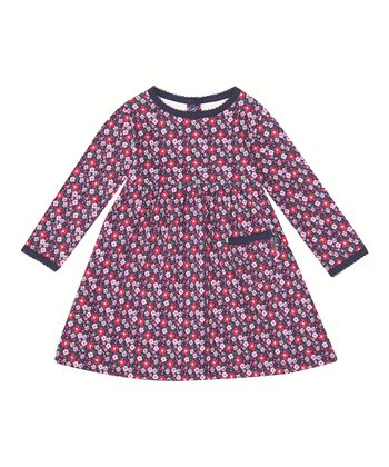 Navy Floral A-Line Dress - Infant, Toddler & Girls