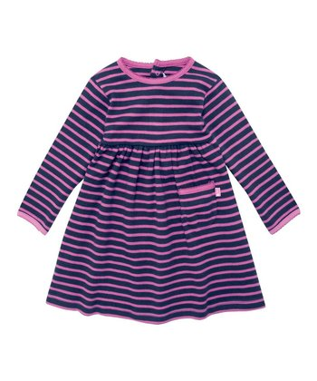 Navy & Fuchsia Stripe A-Line Dress - Infant, Toddler & Girls