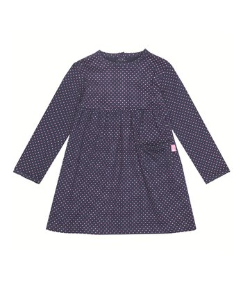 Navy & Fuchsia Polka Dot A-Line Dress - Infant, Toddler & Girls