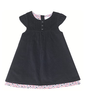 Navy Corduroy Cap-Sleeve Dress - Infant, Toddler & Girls