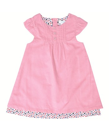 Pink Corduroy Cap-Sleeve Dress - Infant, Toddler & Girls