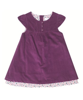 Plum Corduroy Cap-Sleeve Dress - Infant, Toddler & Girls