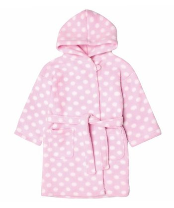 Pink Polka Dot Fleece Robe - Infant, Toddler & Girls